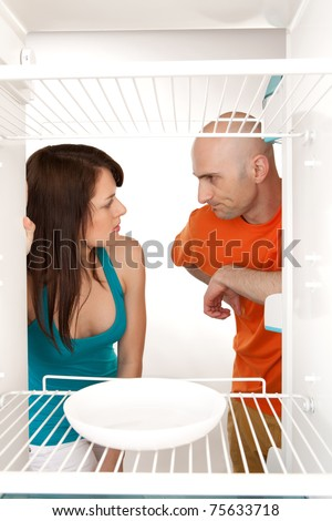 Domestic disagreement about shared marital responsibilities. - stock photo