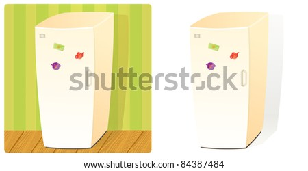 Domestic Refrigerator with One Door and Three Magnets. Stuff Collection (Raster version). - stock photo
