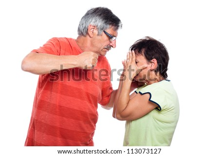 Domestic violence abuse concept, aggressive man going to punch unhappy woman, isolated on white background. - stock photo