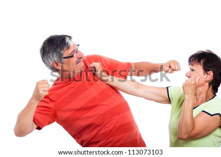Domestic violence concept, photo of couple fighting, isolated on white background. - stock photo