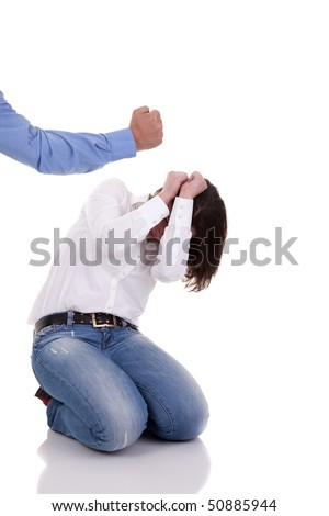 domestic violence: hand of a man, hitting a woman who cringes, isolated on white background - stock photo
