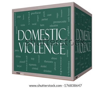 Domestic Violence Word Cloud Concept on a 3D cube Blackboard with great terms such as victim, assault, judge, harm, social, education and more. - stock photo