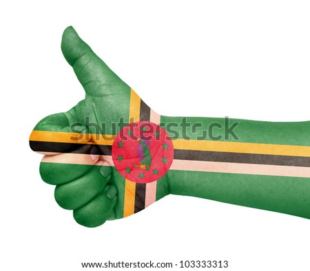 Dominica flag on thumb up gesture like icon on white background - stock photo