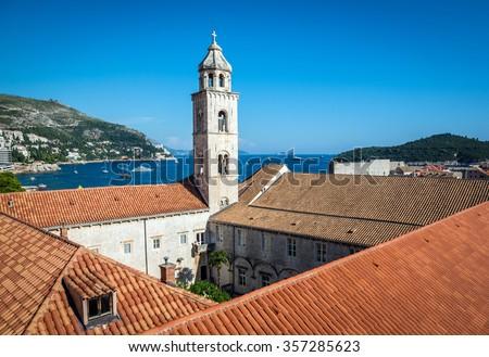 Dominican Monastery seen from Walls of Dubrovnik in Croatia - stock photo