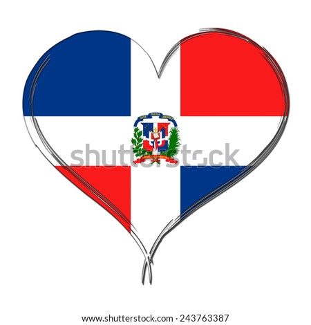 Dominican Republic 3D heart shaped flag - stock photo