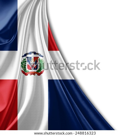 Dominican Republic flag and white background - stock photo
