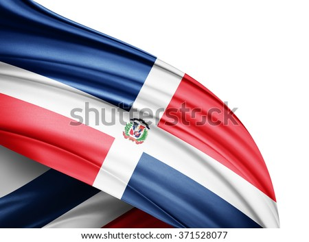 Dominican Republic  flag of silk with copyspace for your text or images and white background - stock photo