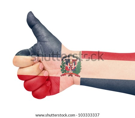 Dominican Republic flag on thumb up gesture like icon on white background - stock photo