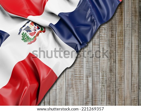 Dominican Republic Flag with vertical wood - stock photo