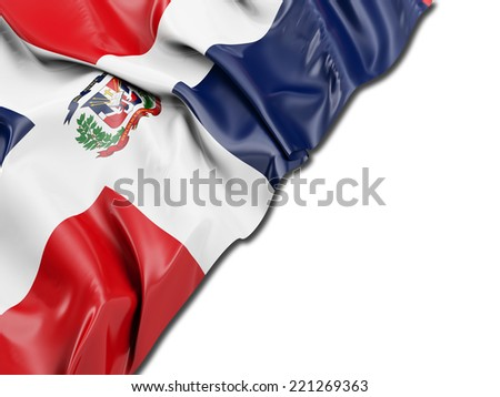 Dominican Republic Flag with white - stock photo