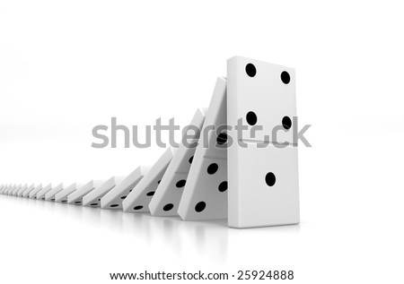 Domino Effect - stock photo