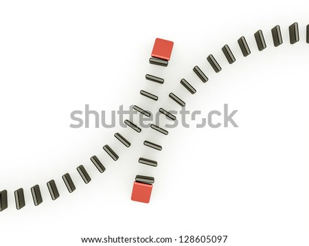 Domino effect two is red isolated on white background - stock photo