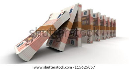 Domino effect with stacks of 50 Euro notes - stock photo
