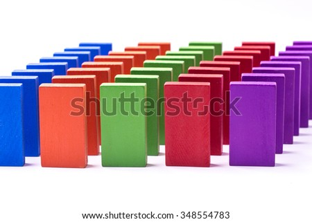 Domino game outof colorful blocks. All isolated on white background. A - stock photo