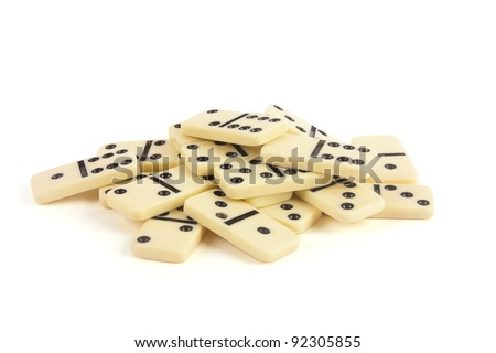 dominoes with black points - stock photo