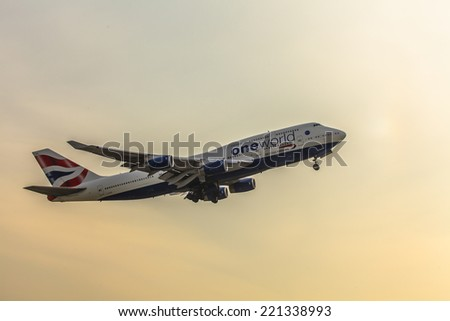 DOMODEDOVO AIRPORT (DME), RUSSIA, SEPTEMBER 26, 2014: British airways Boeing 747 take off from Domodedovo Airport September 26, 2014 in Moscow region, Russia - stock photo