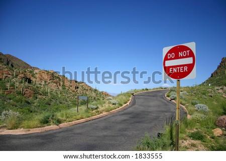 don not enter desert 1 - stock photo