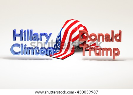 Donald Trump vs Hillary Clinton presidential candidate in USA 2016. American politician. United States presidential election. US flag. White background. 3d Rendering. WASHINGTON, DC - MAY 26, 2016  - stock photo