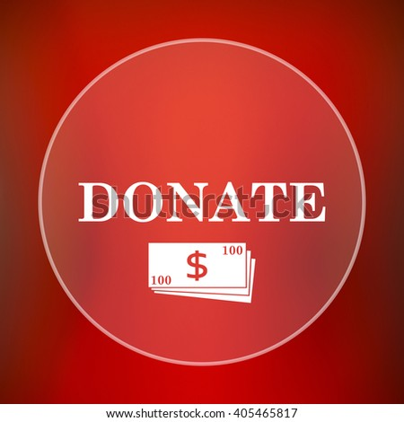 Donate icon. Internet button on red background. - stock photo