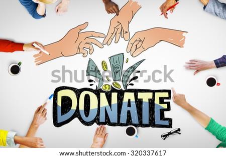 Donate Money Charity Generous Hands Concept - stock photo