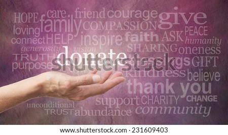 Donate Word Wall  - Female hand outstretched with palm side up and a white 'donate' word floating above surrounded by different sized words related to charity on a purple stone effect background - stock photo