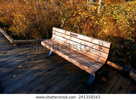 "Donated park bench with the words ' In memory of..."" a name in the park - stock photo"