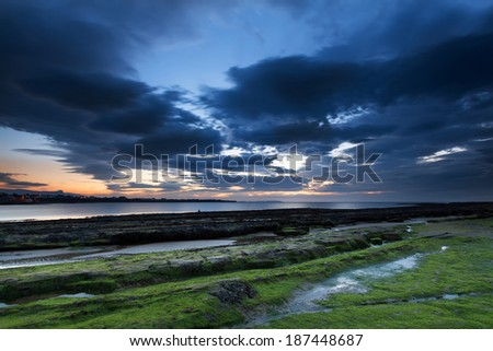 Donegal coast at blue hour - stock photo