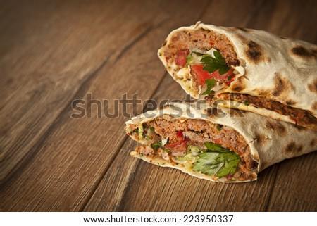 Doner Adana Kebab with Lahmacun - stock photo