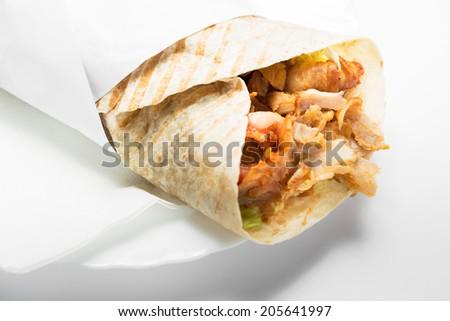 Doner kebab isolated on white background. - stock photo