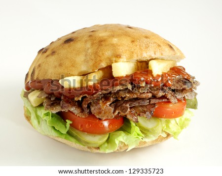 doner kebab sandwich - stock photo