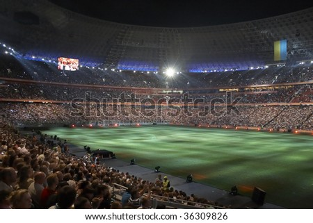 DONETSK, UKRAINE - AUGUST 29: Night view of the opening of Shakhtar Donetsk's new soccer stadium August 29, 2009 in Donetsk, Ukraine - stock photo