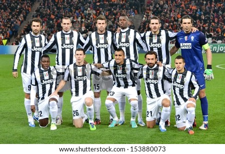 DONETSK, UKRAINE - DEC 5: Juventus general team photo in the Champions League match between Shakhtar vs Juventus, 5 December 2012, Donbass-Arena, Donetsk, Ukraine - stock photo