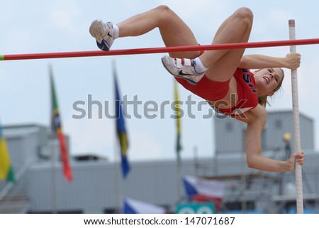 DONETSK, UKRAINE - JULY 11: Zoe McKinley of USA competes in Pole Vault during 8th IAAF World Youth Championships in Donetsk, Ukraine on July 11, 2013 - stock photo
