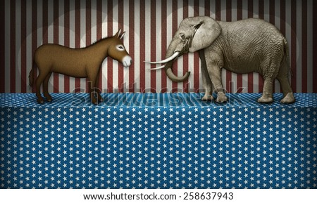 Donkey and elephant face off on a patriotic stage, representing the democrat and republican parties. White blocked space below for text to be added. - stock photo