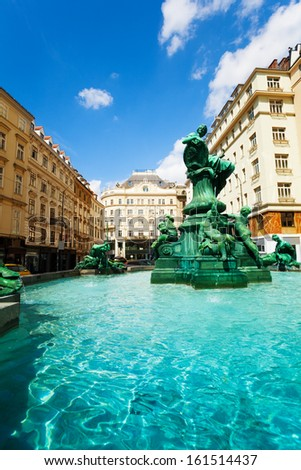 Donnerbrunnen fountain in Vienna, Austria with sculptures on sunny day - stock photo