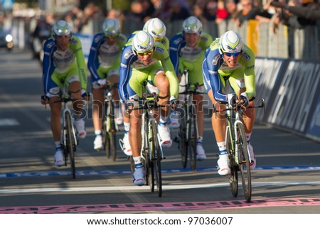 DONORATICO, LIVORNO, ITALY - MARCH 07: Team Liquigas during the 1st Team Time Trial stage of 2012 Tirreno-Adriatico on March 07, 2012 in Donoratico, Livorno, Italy - stock photo