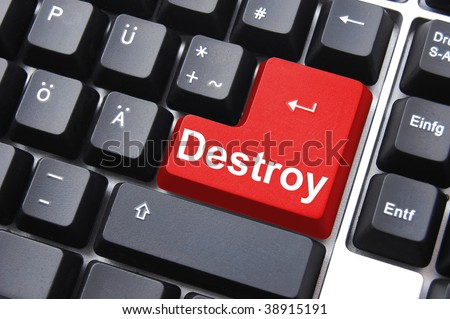 dont kill with the destroy button on computer keyboard - stock photo