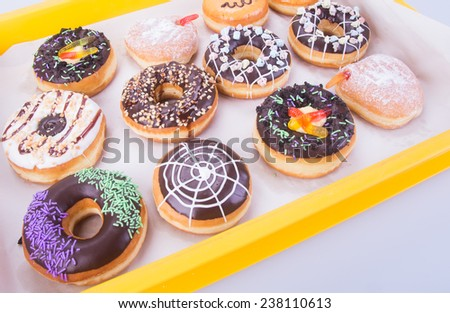 donut. Assorted donuts on background - stock photo