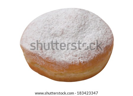 Donut jelly filled on white background - stock photo