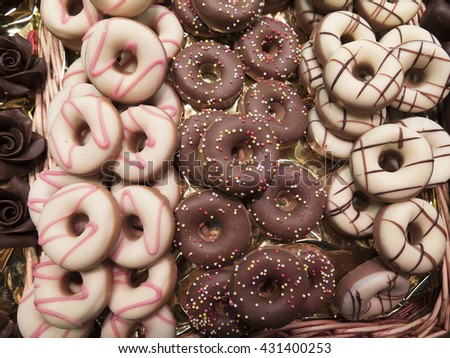 Donut shaped sweets in the market - stock photo