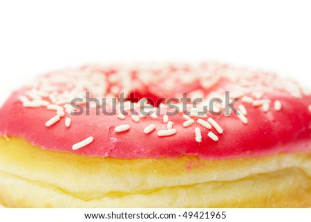 Donut with chocolate and colorful sprinkles, isolated on white - stock photo