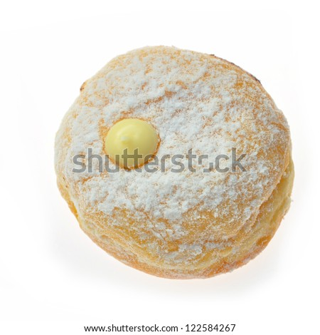 Donut with jam over white - stock photo