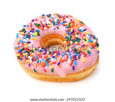 Donut with sprinkles isolated on white background - stock photo