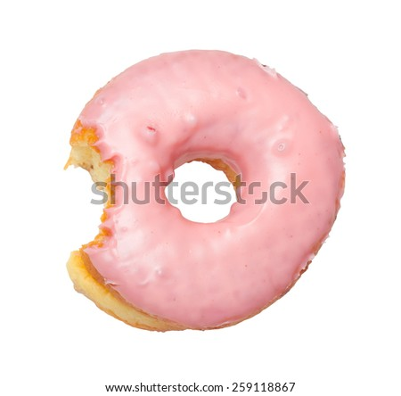 Donut with strawberry cream coating isolated on white background - stock photo