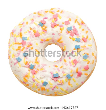 Donut with white icing colored topping, isolated on white background - stock photo