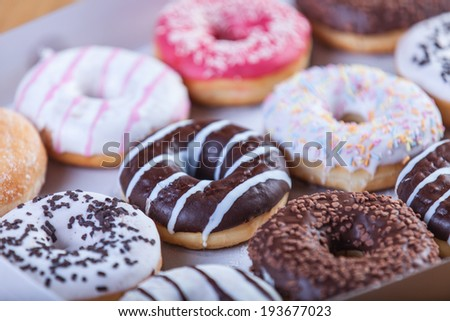 Donuts in box. - stock photo
