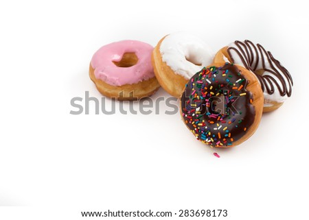 Donuts isolated on white background with empty space for writing your own text or message - stock photo
