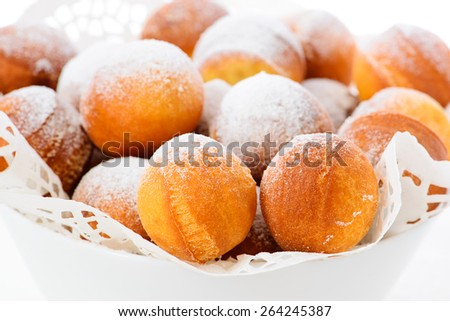Donuts with powdered sugar. - stock photo