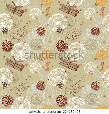 Doodle background with citrus, bird and snowflakes, seamless winter pattern - stock photo