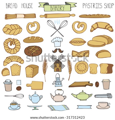 Doodle Bakery,bread,pastries utensils icons set.Colored vintage elements for logo,label,menu,cafe shop. Flat hand drawn isolated items.Illustration, - stock photo